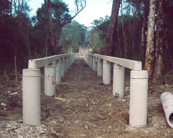 Elevated boardwalks installed onto potted concrete pipes/