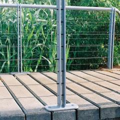 Galvanised steel fencing attached to concrete boardwalk