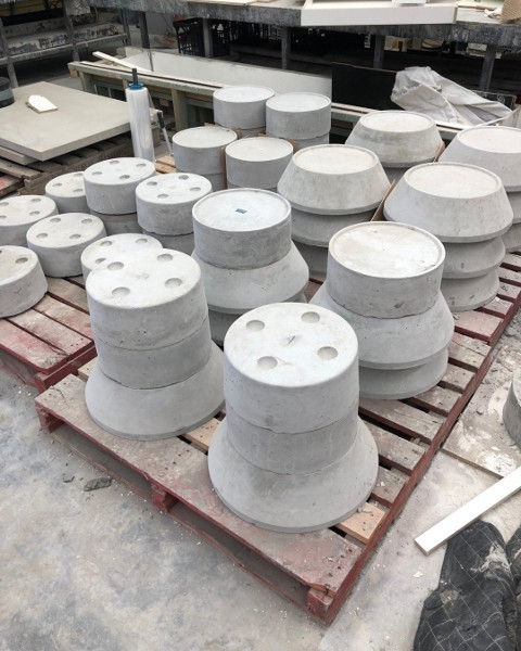 Precast piers ready for transport.